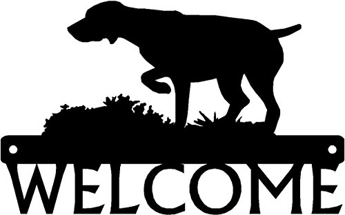 "The Metal Peddler German Shorthaired Pointer GSP on Point Dog Welcome Sign - 12"" x 7.5"""