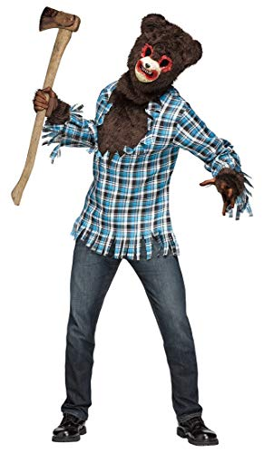 Fun World Men's Scary Teddy Bear Costume, Multi,