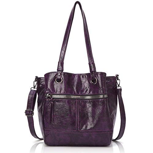 (Angel Barcelo Womens Fashion Handbags Tote Bag Cross Body Shoulder Bag Top Handle Satchel Purse Purple)