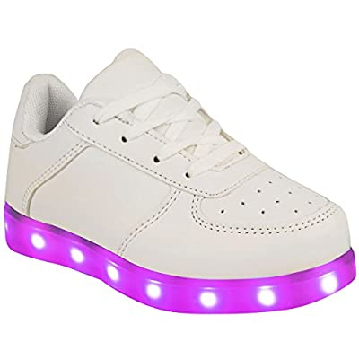 Fashion Thirsty Kids Girls Sneakers Flashing LED Luminous Lights USB Charger Lace Up Size Trainers Size