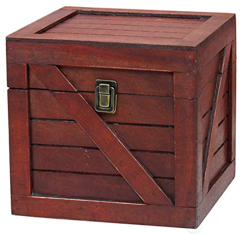 Cherry Stackable - Vintiquewise QI003251.C Wooden Stackable Lidded Crate (Cherry)