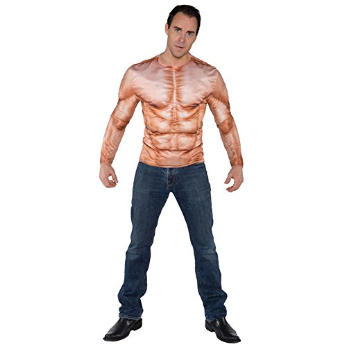 [Underwraps Men's Photo Real Shirt - Muscles Padded, Tan, One Size] (Mens Halloween Costume Ideas Last Minutes)