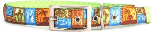 Yellow Dog Design Uptown Collar, Large, Tiki Print on Green Polka, Small Dots