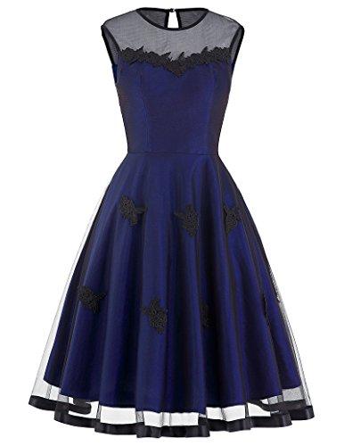 Length Taffeta Wedding Dresses (1950's Audrey Hepburn Retro Dresses for Women A-Line Size L BP112-4)