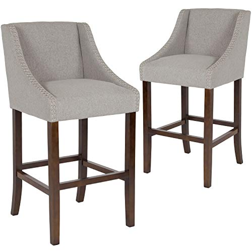 (Flash Furniture 2-CH-182020-30-LTGY-F-GG Residential Barstools, 2 Pack, Light Gray Fabric)