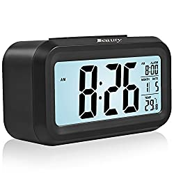 BeautyFlower Smart Alarm Clock with Large LCD screen, Low Light Sensor Technology, Soft Night Light, Repeating Snooze, Month Date & Temperature Display Function(black) (black)