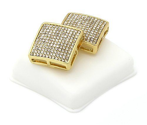 - Mens 12 Rows Gold Tone Clear CZ Micro Pave Dome Square Earrings D12