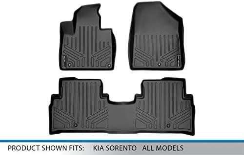 SMARTLINER Custom Fit Floor Mats 3 Row Liner Set Black for 2016-2019 Kia Sorento 7 Passenger Model Only