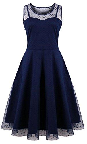 (KILOLONE Womens 50s Plus Size Dresses Christmas Party Vintage Retro Bridesmaid Evening Lace Sleeveless Cocktail Dress,Blue,3X Plus)