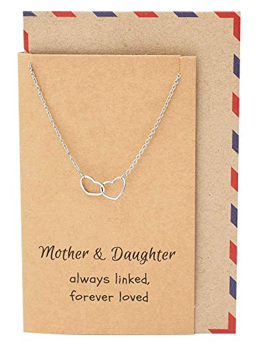 Quan Jewelry Mother Daughter Linked Hearts Necklace, Mother's Day Gifts, Thank You Appreciation Presents for Mom, Mother-in Laws, Grandmothers with Inpirational Greeting Card