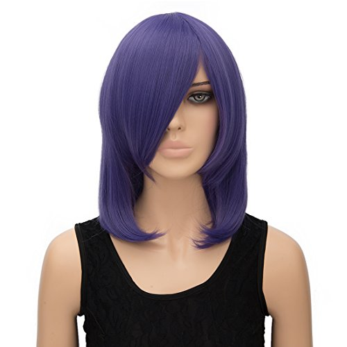 Alacos 40cm Synthetic Heat Resisting Short Side Parting Bob Style Wig Sexy Women Silky Straight Cosplay Party Wig Hair with Free Wig Cap (Sexy Present Costumes)