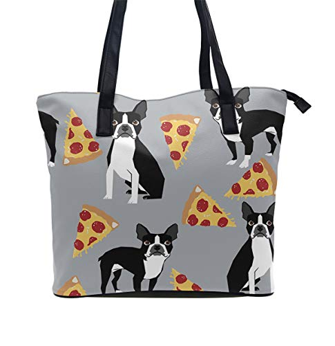 YongColer Grey Boston Terrier Dog Pizza Handbag Water Resistant Shoulder Bag Bookbag for Women Teens Student, Tote Bag with Inner Pouch for Daily Work School ()