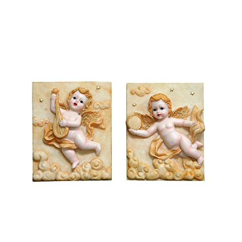 (Mega Crafts Religious Wall Décor Angel Figurines Plaque, Set of 2 | Poly Resin Construction | Hang Or Wall Mount Via The Hanging Loop | For Praying, Home Décor, Housewarming Gift, Meditation & More)