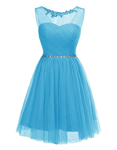 Neck Prom Party Blue Tulle Beaded Homecoming Dress Womens Crew Gowns Short ALAGIRLS xq80zq