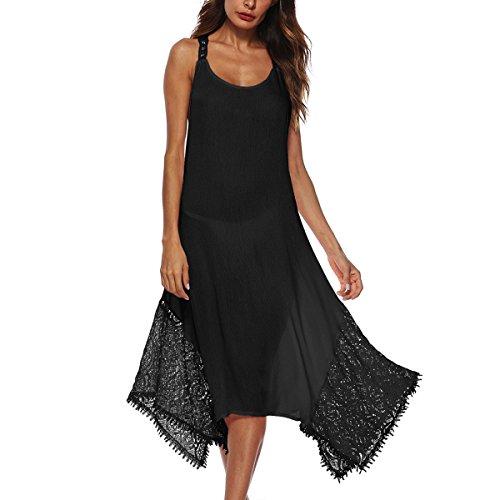 Correa Cruzada de la Honda Que se escapa detrás del Vestido de Costura Irregular del cordón Mujeres Faldas largas de la sección (Color : Black, tamaño : M)