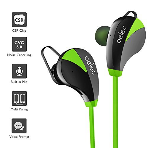 aelec S350US Bluetooth Headphones Wireless Sports Earbuds Sweatproof Earphones Noise Cancelling Headsets with Mic, Green