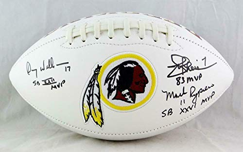Williams, Rypien, Theismann Signed Washington Redskins Logo Football- W Auth - JSA Certified - Autographed -