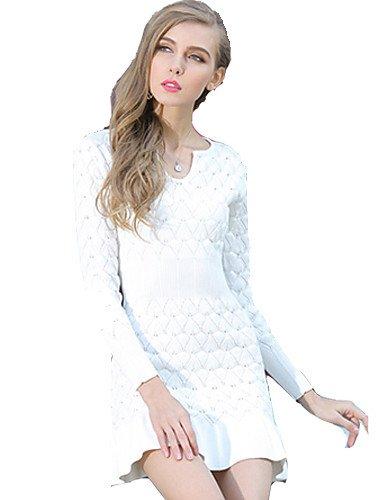 PU&PU Robe Aux femmes Gaine Simple,Couleur Pleine Asymétrique Mini Polyester , light blue-s , light blue-s