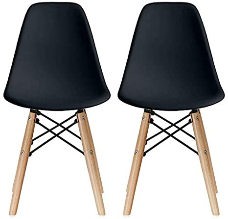 Incredible 2Xhome Set Of Two 2 Black Kids Size Plastic Side Chairs Plastic Chairs Black Seat Natural Wood Wooden Legs Eiffel Childrens Room Chairs No Arm Machost Co Dining Chair Design Ideas Machostcouk