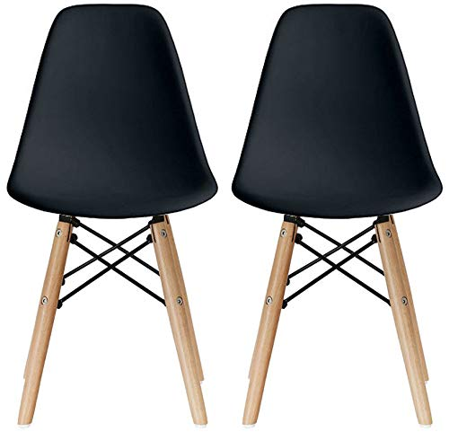 2xhome - Set of Two (2) - Black - Kids Size Plastic Side Chairs Plastic Chairs Black Seat Natural Wood Wooden Legs Eiffel Childrens Room Chairs No Arm Arms Armless Molded Plastic Seat Dowel Leg