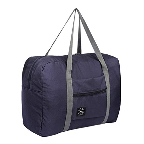 Travel Foldable Duffel Bag for Women Men,Lightweight Waterproof Carry-on Luggage for Sports Gym (Dark Blue)