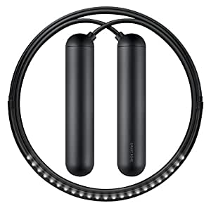 Tangram Factory Smart LED Embedded Jump Rope, Black, X-Small