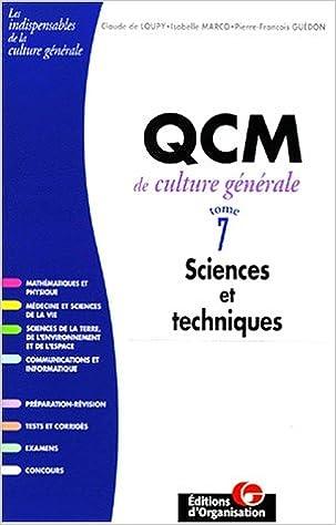 Livres QCM de culture générale, tome 7, Sciences et techniques epub, pdf