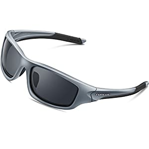 TOREGE Polarized Sports Sunglasses For Man Women Cycling Running Fishing Golf TR90 Unbreakable Frame TR011 (Gray&Gray lens)