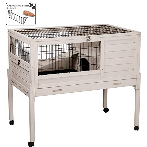 Aivituvin Rabbit Hutch Indoor and Outdoor Bunny cage with Deep No Leak Removable Tray,Guinea Pig Cage on Wheels,Multifunction ()