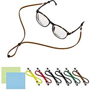 PAMASE 6 PACKS Adjustable Eyeglasses Holder Chain Strap - Universal Fit Anti-slip Eyewear Retainer Cord for All Sunglasses & Eyeglasses - STYLISH ECO LEATHER