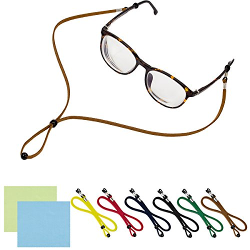6 PACKS Adjustable Eyeglasses Holder Strap - Universal Fit Anti-slip Eyewear Retainer Cord for All Sunglasses & Eyeglasses - STYLISH ECO - Sunglass Neck Holders Your Around