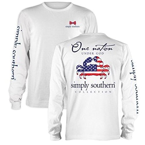 Nation Adult T-shirt - Simply Southern One Nation Under God Adult Long Sleeve T-shirt-White-xl