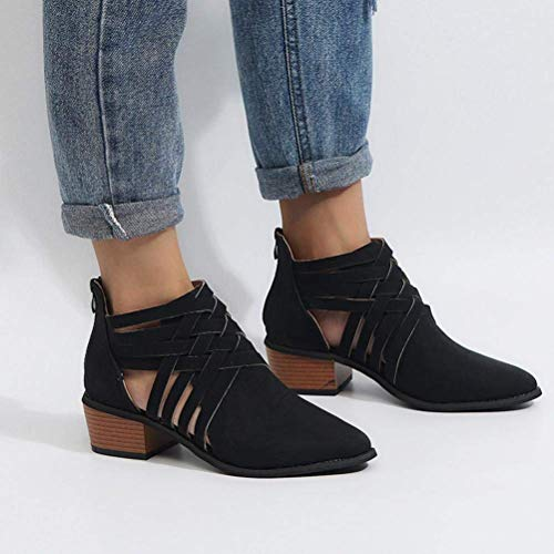 Boots Botas Ancho Cortas Minetom Zapatos Cremallera Negro Elegante Bootie Otoño Ahuecar Mujer Cómodas Chelsea Botines Chic Ankle Antideslizante Verano Tacón wqqUzxtA