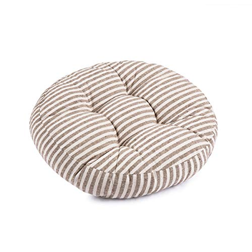 Nathime Patio Stripe Round Thicken Chair Pads Outdoor/Indoor Bistro Home Dining Chairs Seat Cushion (Stripe-Grey) (Grey Stripe Cushion)