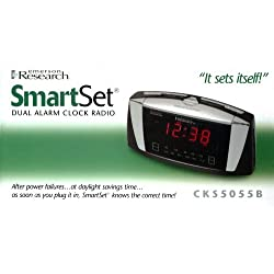 Emerson Radio CKS5055B SmartSet Dual Alarm Clock Radio with Large LED Display (Black)