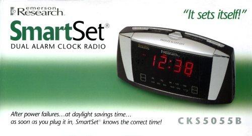 Emerson Radio CKS5055B SmartSet Dual Alarm Clock Radio with