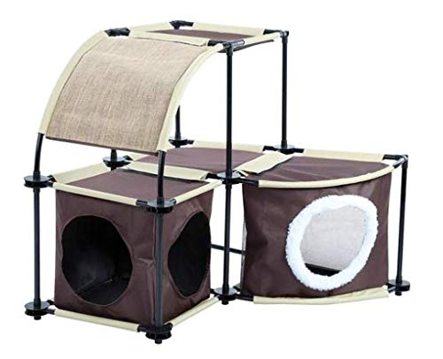 - Pet Store Combo Cat Condo Duplex 2 Hideaway Sections and Rounded Top in Brown