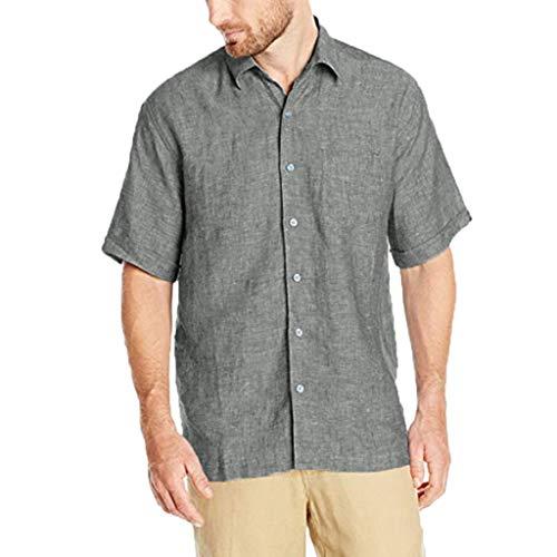 TANGSen_Mens Casual Summer Top Pure Cotton Lapel Button Top Hemp Short Sleeve Solid Color Comfortable Loose Top Gray]()