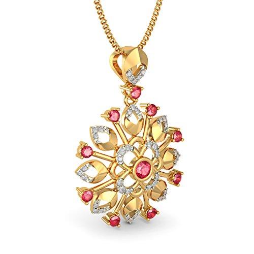 14K Or jaune 0,14CT TW Round-cut-diamond (IJ | SI) et rubis Pendentif