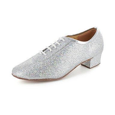 XIAMUO Nicht anpassbar - Die Frauen tanzen Schuhe Modern/Ballsaal/Praxis Schuhe Kunstleder Ferse Silber/Grau, Grau, EU/US7.5 38/UK5.5/CN 38
