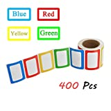 SJPACK 400pcs Colorful Name Tag Stickers, 3 1/2 x 2 1/4 Self-adhesive Name Badges for School, Parties, Kids Clothes, Jars, Bottles
