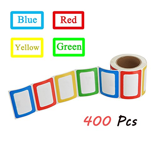 Self Adhesive Name Badges - SJPACK 400pcs Colorful Name Tag Stickers, 3 1/2 x 2 1/4 Self-adhesive Name Badges for School, Parties, Kids Clothes, Jars, Bottles