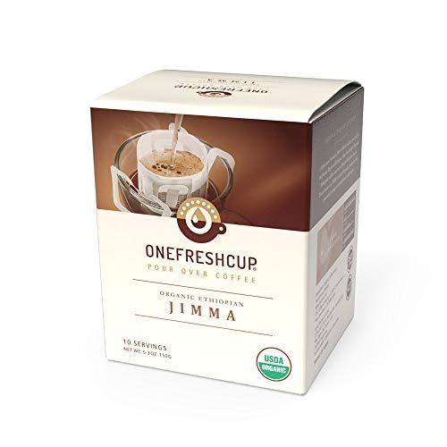 One Fresh Cup Coffee - Single Serve Pour Over Drip Coffee - Organic Jimma - Ethiopian Smooth Crisp Light Roast
