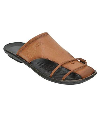 9f0c94b0de9f21 HITZ Men s Tan Leather Thong Sandals (11 UK)  Buy Online at Low ...
