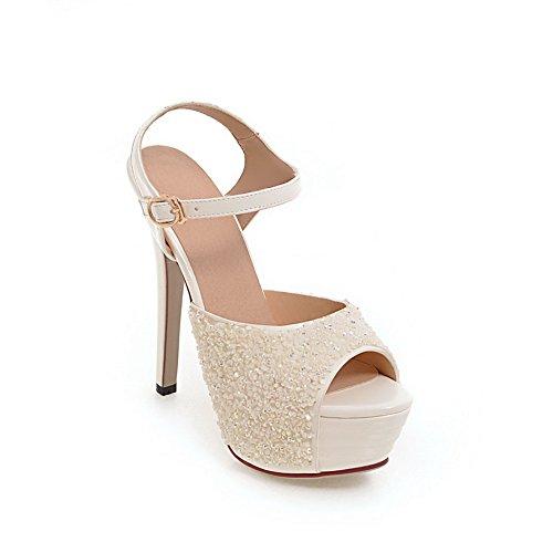 AdeeSu Womens Studded Fashion Dress Urethane Sandals SLC03991 White HRZFP