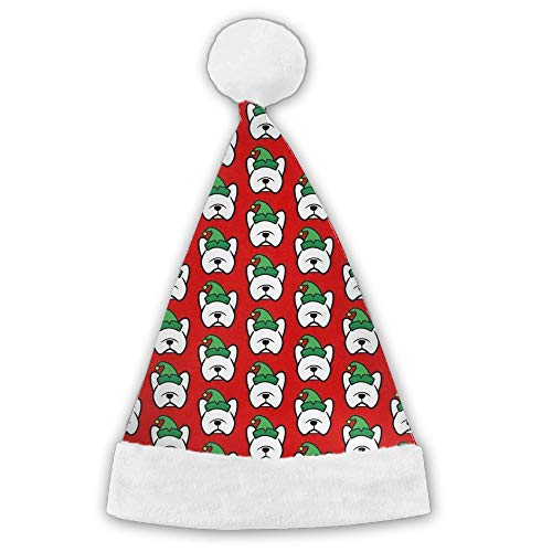 Kux14Bt French Bulldog Elf Christmas Funny Party Hats