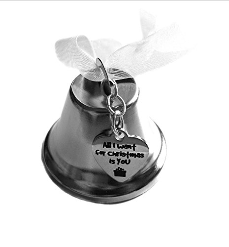 Christmas Bell Ornament,All I Want For Christmas Is You Heart Stainless Steel Charm, Christmas Gift by Heart Projects (Image #1)