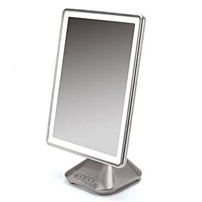 "iHome 10"" x 13"" iCVBT10 Reflect PRO Portable, Adjustable Vanity Mirror with Bluetooth Audio, Hands-Free Speakerphone, LED Lighting, Siri & Google Voice Assistant USB Charging, LED Lighting"