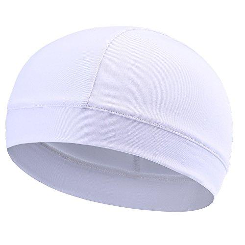 Tofern Summer Moisture Wicking Elastic Skull Cap Helmet Liner Bandana Beanie Hat for Outdoor Cycling Running Sport Motorcycle Microfiber, White