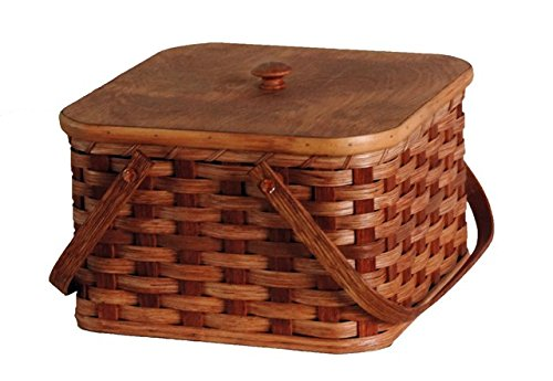 Amish Handmade Square Double Pie Basket w/Inside Tray, Lid, and Two Swinging Carrier Handles (Natural w/o Liner, Regular) by AMISH BASKETS AND BEYOND